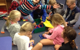 Room 4 enjoying our new construction equipment.